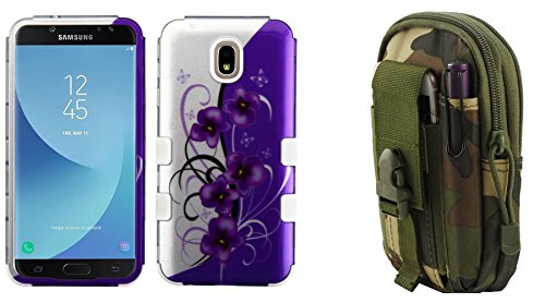 (TUFF Hybrid Protective Phone Cover Case (2D Twilight Petunias) with Jungle Camo Tactical EDC MOLLE Waist Holder Pouch and Atom Cloth for Samsung Galaxy J7 Star)