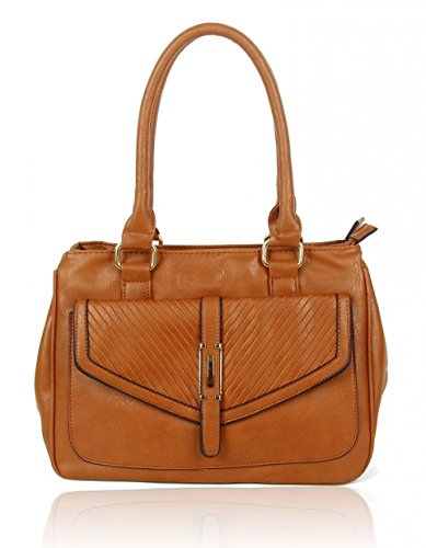 Style Bags Bag Cw150906 Pocket Brown Shoulder Tote Fashion Ladies Handbags Front Leather Faux For Leahward Women's EpqwxwA