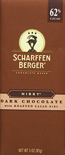 SCHARFFEN BERGER NIBBY Dark Chocolate with Roasted Cacao Nibs (3-Ounce Bars, Pack of 6)