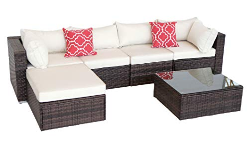 Do4U New 6 Pieces Patio Furniture Set | Outdoor PE Rattan Sofa | Wicker Sectional Furniture Set with...