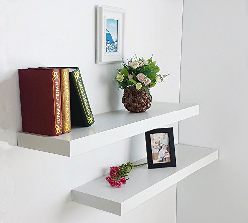 36in Kitchen Shelves (HAO Set of 2 Modern 10 Inch Depth Shelf For The Wall Wood Wall-Mounted Storage Shelf MDF Display Shelving Approx 36