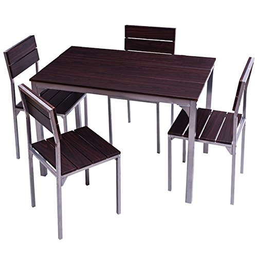 5 PCS Dining Set With 4 Armless Ergonomic Chairs Wooden Table Top Iron Frame Dinning Room Kitchen Home Décor Furniture Breakfast Lunch Dinner Restaurant Coffee Shop Sturdy And Durable (Wicker Outdoor Furniture Clearance Brisbane)