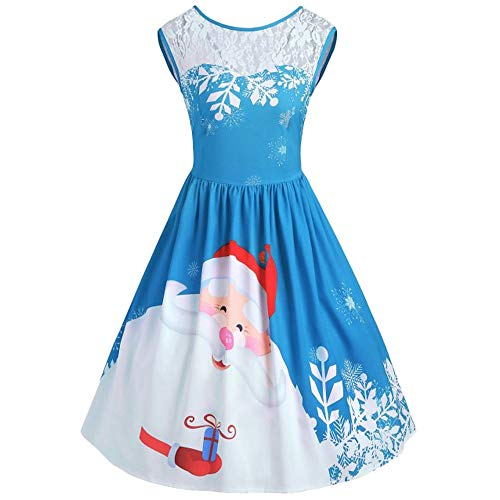 Clearance Women's Dress FEDULK Merry Christmas Santa Claus Print Lace Vintage Flared Dress(Blue, US Size L = Tag XL) for $<!--$9.40-->
