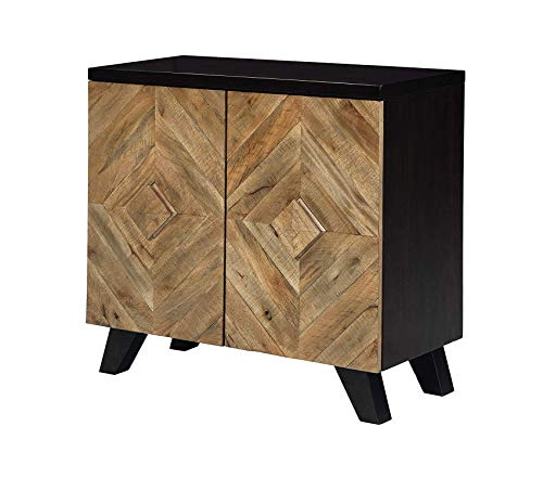 Wood & Style Office Home Furniture Premium Robin Ridge 2-Door Accent Cabinet - Contemporary - Two-Tone Brown Finish - Diamond Inlay Pattern