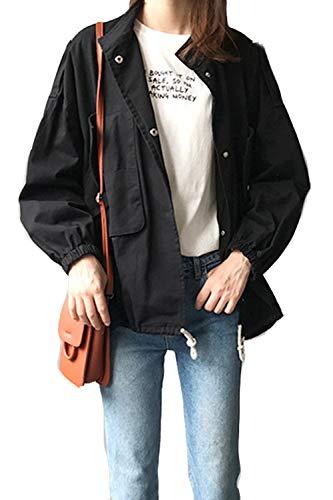 Colletto Aperto Yulinge Le Tasca Black Cardigan Con Donne Davanti Impermeabile Outwear tOB4wIxqB
