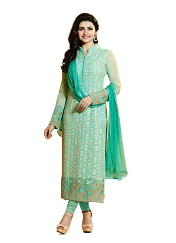 Sea Green Cotton Kameez (CRAFTLIVA SEA GREEN & BEIGE EMBROIDERED GEORGETTE STRAIGHT)