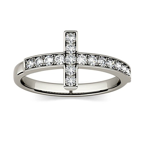 Forever Classic 1.7mm Round Cross Ring-size 5, 0.34cttw DEW By Charles & Colvard by Charles & Colvard