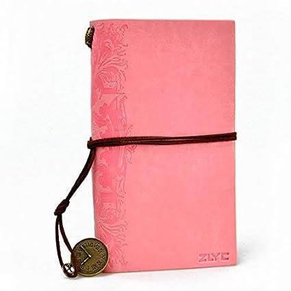 Cuaderno, diseño vintage, hecho a mano, páginas en blanco, con cordón, ideal para diario, agenda, etc, color rosa