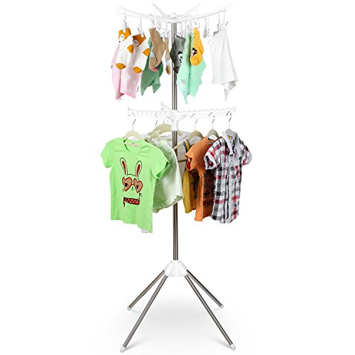 HOMFA Clothes Drying Rack Freestanding Tree Storage Holder Foldable Hanging Rack with 24 Clips for Towel, Socks, Baby Clothes, Bras, Underwear, 2 Tiers