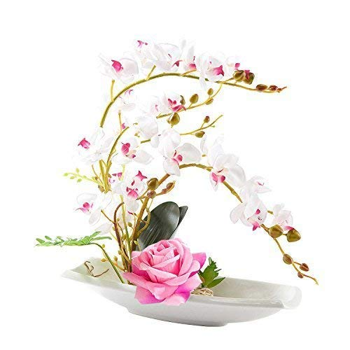 Phalaenopsis Bonsai Artificial Silk Flower Arrangement Home Decor (White) (Floral Room Dining Arrangements)