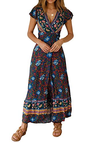 (SALENT Women's Boho Tie-Waist Floral Print Deep V Neck Long Maxi Dress (XL, Navy Blue))