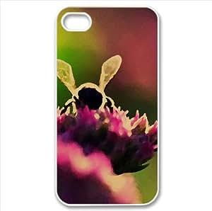 Bee On Pink Flowers, Macro Watercolor style Cover iPhone 4 and 4S Case (Insects Watercolor style Cover iPhone 4 and 4S Case)