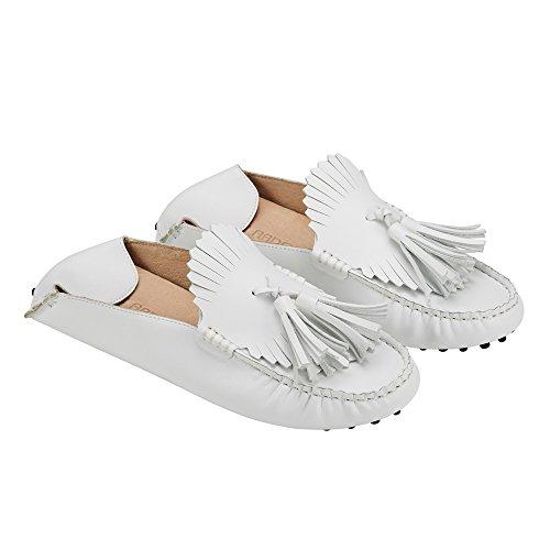 jenn ardor Women's Convertible Slip On Loafers/Slides Tassel Driving Moccasin Leather Smoking Flat Shoes White