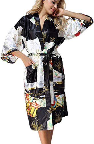 (FLYCHEN Women's Satin Kimono Robe Sleepwear for Ladies Plus Size Black)