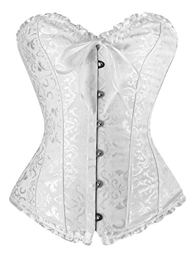 YIANNA Women's Boned Bridal White Sweetheart Corset Bustier G-String, 819-White-XL Bridal G-string