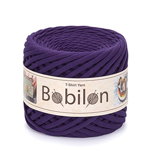 T-Shirt Yarn Fettuccini Zpagetti Style - Tshirt Yarn for Crocheting - Ribbon Yarn 100% Cotton - Knitting Yarn Ball - T Yarn Organic - Macrame T-Yarn Violet - Thick Fabric Yarn - Jersey Big Yarn