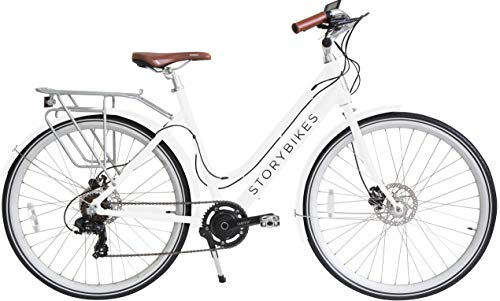 Story Electric Bike - Step-Through Design eBike, Smart 350W Electronic Motor, Hidden Lithium Battery, USB Port to Charge Phone, Shimano Single or 7 Speed, Disc Brakes, 700c Unisex Electric Bicycle