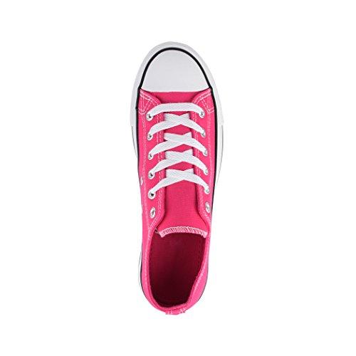 und Damen Basic für Herren Nummer Top Größer Fuchsia Unisex Fällt Sportschuhe Low Textil Turnschuh 36 46 Elara Schuhe Aus Sneaker Bequeme Eine qwfxIa0
