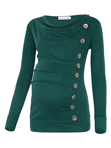 BlackCherry Women's Long Sleeve Cowl Neck Buttons Maternity Nursing Shirt Top by BlackCherry