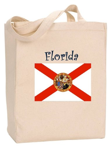 (FLORIDA - FLAG - State Series - Natural Canvas Tote Bag with Gusset)