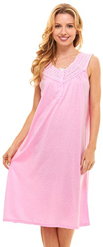 Womens Nightgown Sleepwear Cotton Pajamas - Womans Sleeveless Sleep Dress Nightshirt (1X, Pink-00118)