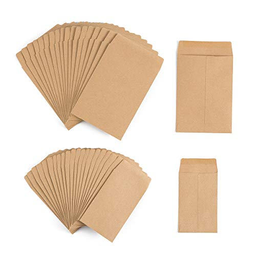 200 Pack Self-Adhesive Small Parts Packets Envelopes Kraft Self Sealing Seed Envelopes Coin Stamps Storage for Home, Garden, Wedding or Office, 2 Size(2.25