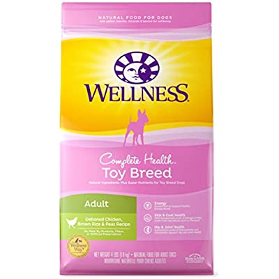 Wellness Natural Pet Food 76344891215 Complete Health Natural Dry Toy Breed Dog Food, Chicken & Rice, 4-Pound Bag