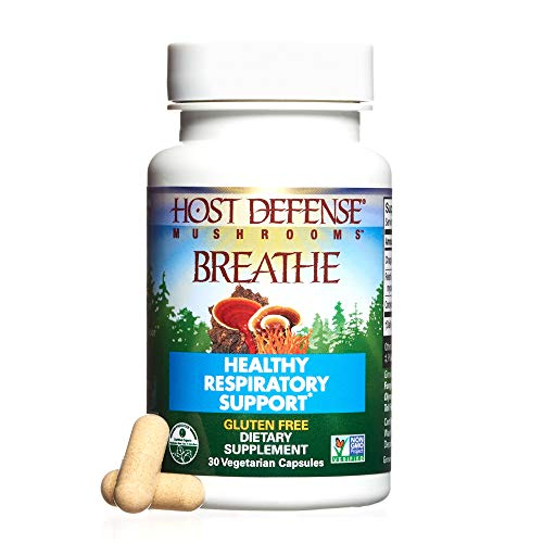 Host Defense - Breathe Multi Mushroom Capsules, Support for Energy, Easy Respiration, and Immunity in the Lungs, Non-GMO, Vegan, Organic, 30 Count