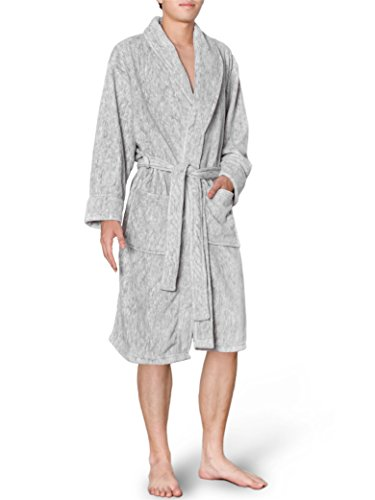 Mens Plush Fleece Robe with Shawl Collar | Soft, Warm, Lightweight Spa Bath Robe Heather Gray
