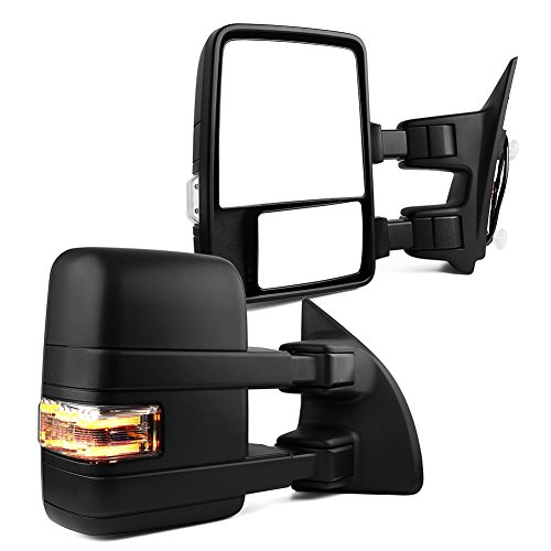 Ford Towing Mirrors, Ford Manual Telescoping Folding with LED Signal Light Clearance Light Tow Mirrors, for 2003 - 2007 Ford F250 F350 F450 F550 Super Duty, 2003 - 2005 Excursion (F250 Super Duty New Manual)