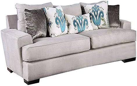 Amazon.com: Benjara, Gray Wooden Sofa With Fabric Upholstery And Track Armrest: Kitchen & Dining