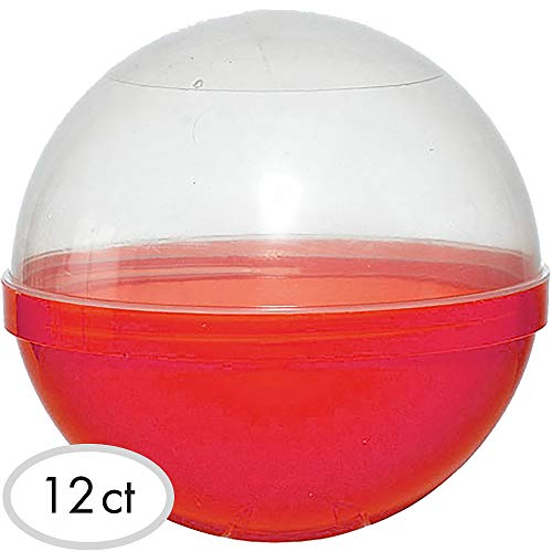 (Party City Red Ball Favor Container, Party Supplies, Plastic, 6