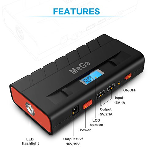 15000mAh Car Jump Starter (up to 5L Gas, 3.5L Diesel Engine), MeGa Portable Power Bank Auto Battery Booster Phone Charger with Dual USB Ports and Flashlight (Black) by Mega Brands (Image #4)
