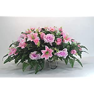 R37 Pink Lily and Mixed Bush Cemetery Flower Arrangement, Headstone Saddle, Grave, Tombstone Arrangement, Cemetery Flowers 69