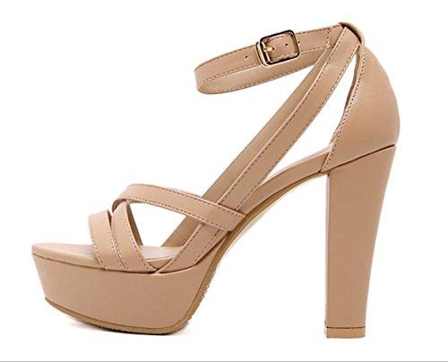 Scarpe Donna YCMDM tacco grosso Sandals Open Toe abbigliamento casual nero Almond , almond , us6.5-7 / eu37 / uk4.5-5 / cn37