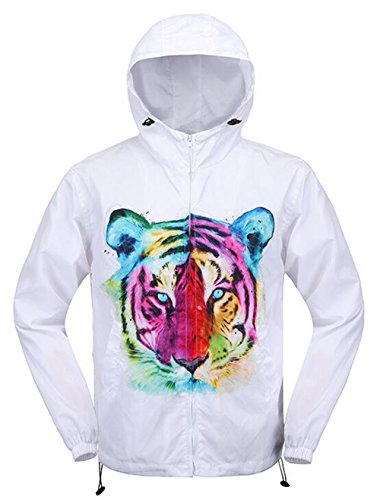 Generic Mens Lightweight 3D Tiger Print Full Zip Jackets White