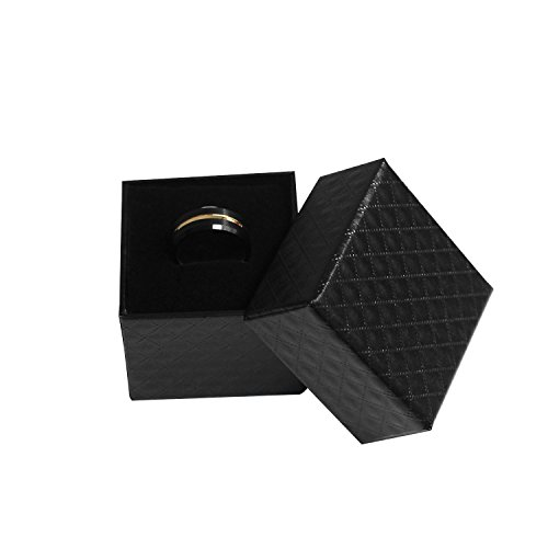 enhong Mens Tungsten Carbide Rings 8mm Black Matte Finish Weding Band 18K Rose Gold Plated Beveled Edge Wedding Ring By 7 by enhong (Image #5)