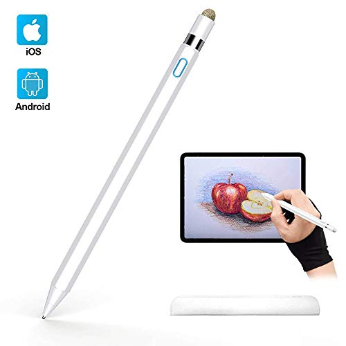 Active Stylus Pen Compatible with Apple iPad, Homagical 1.5mm Fine Point Digital Stylus Pen, Rechargeable Capacitive Stylus for Touch Screen Devices (Glove &Pen Bag Included)