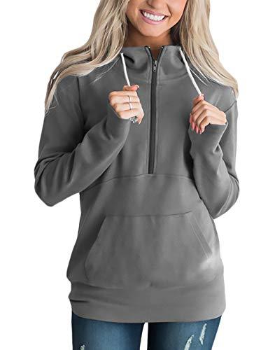Camisas Elegantes Otoño Adelina Casuales Simplemente Manga Con Oscuro Anchos Sweatshirts Sport Mujer Fashion Largo Ropa Shirt Cremallera Primavera Pullover Sudaderas Gris wIUrvIq