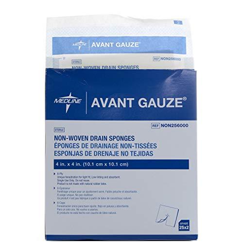 Medline Avant Gauze Sterile Drain Sponge NON256000, Pack of 2 Boxes, 100 Total - Medline Industries Drain