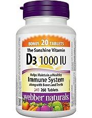 Webber Naturals Vitamin D3, Tablet, 1,000 IU, 260 Count