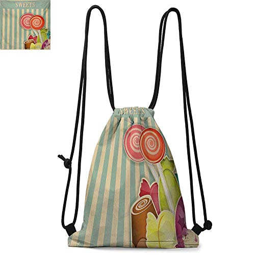 (VintagePrinted drawstring backpackRetro Old Candy Store Chocolates Lollipops with White Stripes on Baby Blue BackdropSuitable for school or travel W13.8 x L17.7 Inch Multicolor)