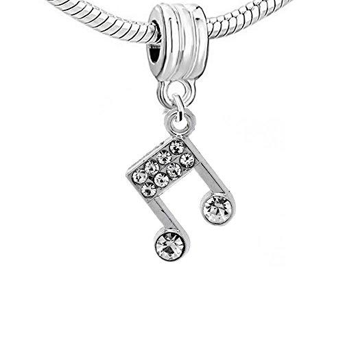 Musical Note Dangle Bead Spacer for Snake Chain Charm Bracelet