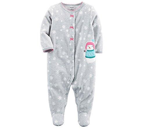 (Carter's Baby Girls' Snowman Snap up Fleece Sleep and Play, Grey Snow, 6)