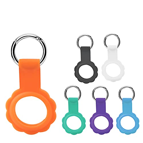 AirTags Loop Case Key Finder, Silicone Protective Cover for Apple AirTag Anti-Lost Finder Location Tracker Holder with Keychain Loop to Keys Backpacks Pet Dog Necklace(6pcs)