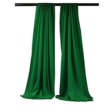 LA Linen Polyester Poplin Backdrop Drape (2 Pack), 96 x 58 , Emerald Green