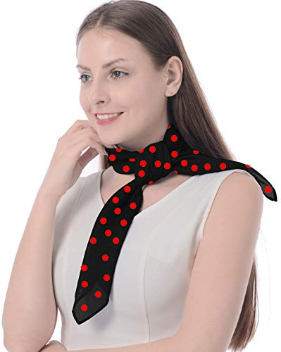 Fashion Headscarf Sheer Chiffon Scarf Square Handkerchief for Women Girls Ladies Head Scarf Neckerchief mit Trendy Rose Red