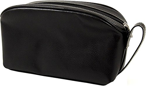 Travel Toiletry Bag, Black Leather by Berk by Berk