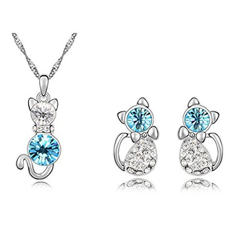 Fortunal FSGGMBLUE Swarovski Element Little Cat Shape Blue Crystal Necklace and Earrings Set