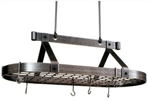 Enclume Premier 3-Foot Oval Ceiling Pot Rack, Hammered Steel by Enclume